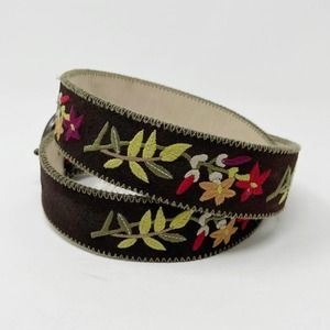 J Jill Floral Embroidered Leather Belt S Suede